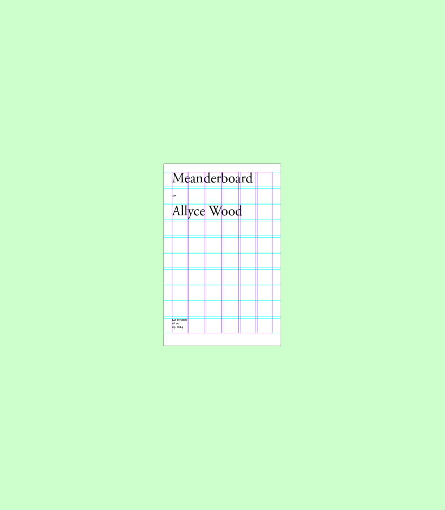 A screenshot showing an digital layout with the word Meanderboard, followed by Allyce Wood over a mint green background.